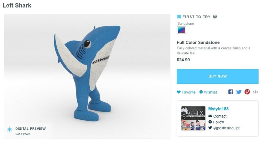 A cached image of the Left Shark figurine at Shapeways that drew a cease-and-desist letter from Katy Perry's legal team. The item is no longer offered for sale.