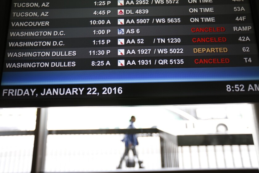 Los Angeles International Airport was reported to have had more than 50 cancellations and five delays Friday morning.