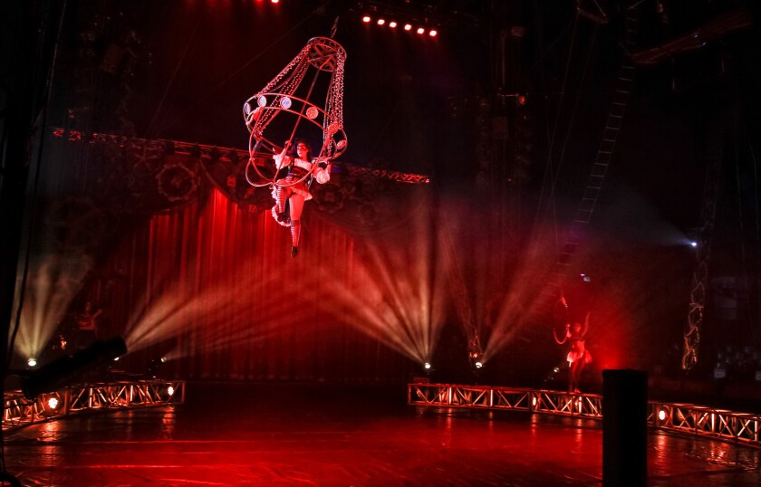 Circus Vargas performer Annabel Bachliyski swings in her chandelier act during a dress rehearsal.