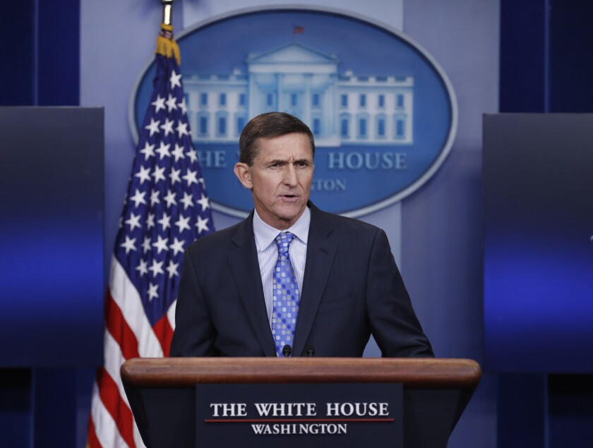 """National Security Adviser Michael Flynn announcing Wednesday that the Trump administration is putting Iran """"on notice"""" after it tested a ballistic missile."""