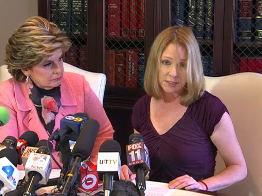 Bronwyn Ingram speaks at a news conference in Los Angeles with attorney Gloria Allred.