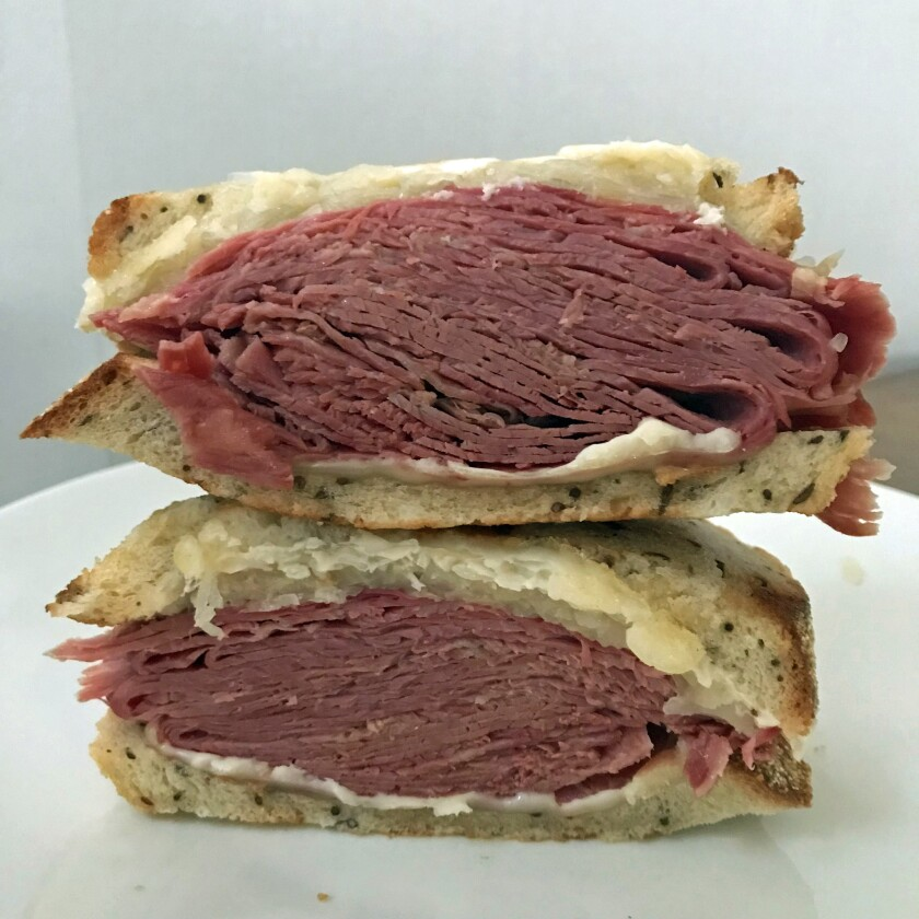 The corned beef Reuben from Mort's Deli. (Jenn Harris / Los Angeles Times)