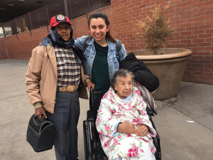 Zaira Gonzalez with her grandparents at the Calexico port of entry