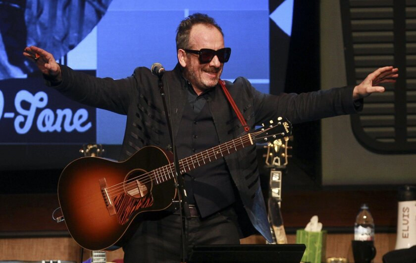 Elvis Costello performs at the Balboa Theatre in San Diego on Thursday.