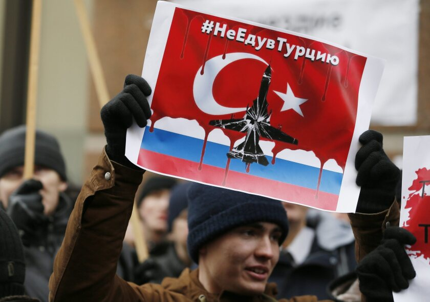 Protest against downing of Russian bomber by Turkish air force