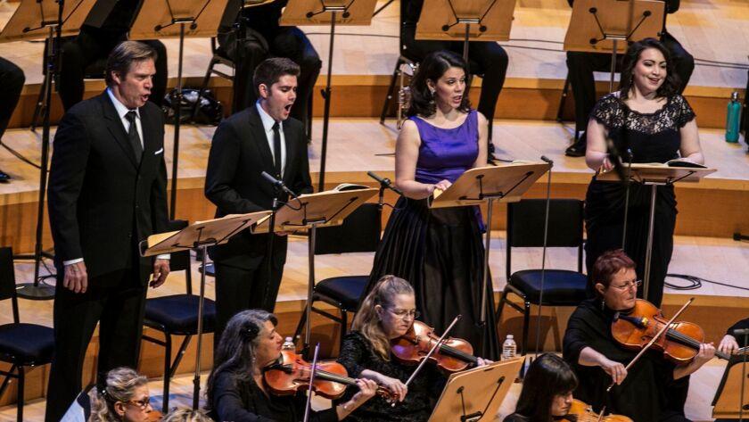 Soloists Rod Gilfry, left, Arnold Livingston Geis, Allyson McHardy and Raquel Gonzalez.