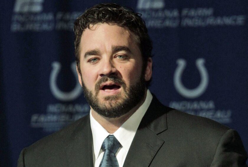 FILE - In this March 7, 2013, file photo, Jeff Saturday speaks at an NFL football news conference in Indianapolis, after signing a one day contract in order to retire as an Indianapolis Colt. The Ohio Supreme Court has found unconstitutional the method that Cleveland uses for taxing professional athletes who work for short periods of time in the city. The court said Saturday shouldn't have been taxed at all by Cleveland during the 2008 season because he was injured and not in the city for the days he was taxed. (AP Photo/AJ Mast, File)