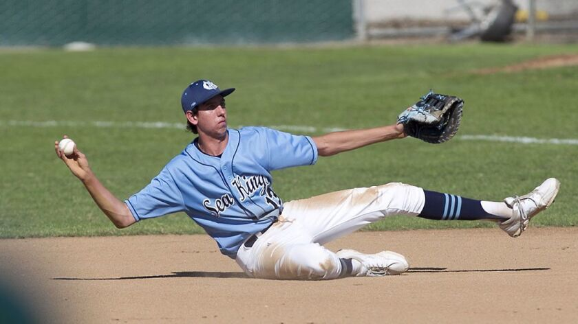 Corona Del Mar's Teddy Stuka concentrates as he throws to first on his side for an out after gatheri