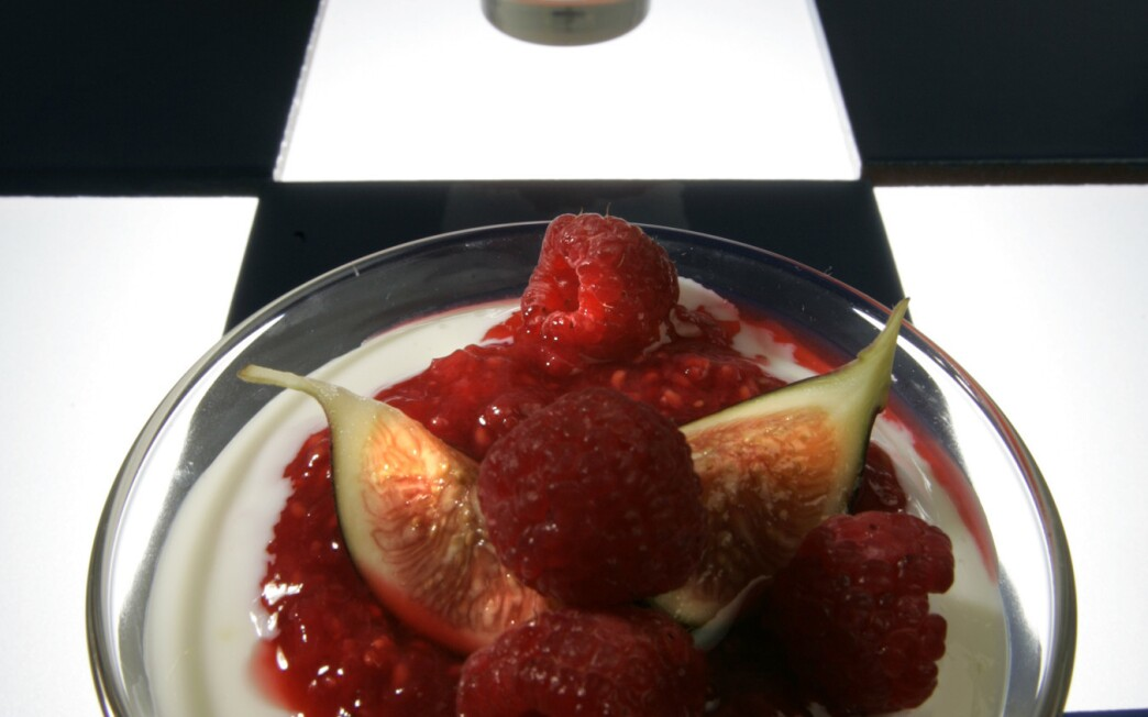 Panna cotta with apple confit, figs and crushed raspberries