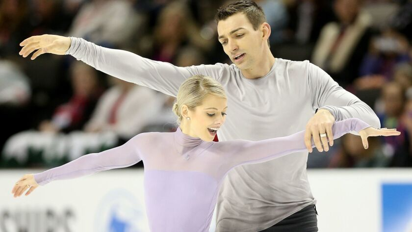 Alexa Scimeca-Knierim and Christopher Knierim compete in the Pairs Free Skate during the 2018 Prudential U.S. Figure Skating Championships at the SAP Center on January 6, 2018 in San Jose.