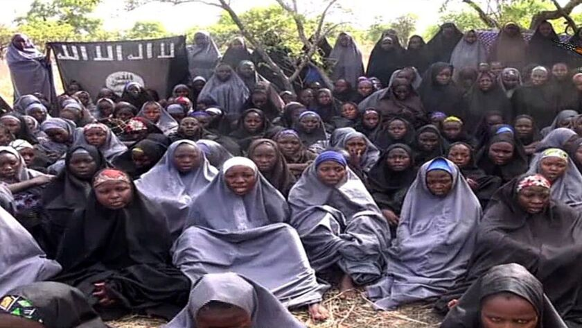 Nigerian schoolgirls abducted by the Islamist extremist group Boko Haram in 2014.