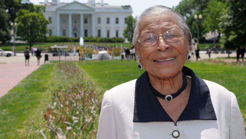 Recy Taylor stands in Lafayette Park after touring the White House in 2011.