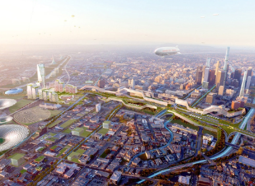 An artist's rendering of the proposed Olympic Village in Los Angeles' bid for the 2024 Summer Olympic Games.