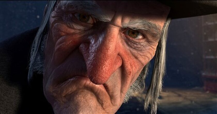 """In this film publicity image released by Disney, Ebenezer Scrooge, voiced by Jim Carrey, is shown in a scene from """"A Christmas Carol."""" (AP Photo/Disney, ImageMovers Digital LLC)"""