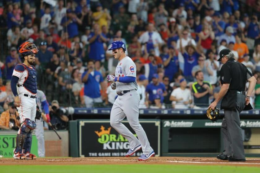 Anthony Rizzo (c), primera base de los Cachorros de Chicago. EFE/ Jorge Campos