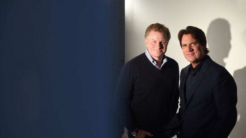 Writer and director Rob Marshall, in suit jacket, is seen with co-writer David Mcgee at the Beekman Hotel Manhattan, NY. They wrote the sequel to Mary Poppins called Mary Poppins Returns.