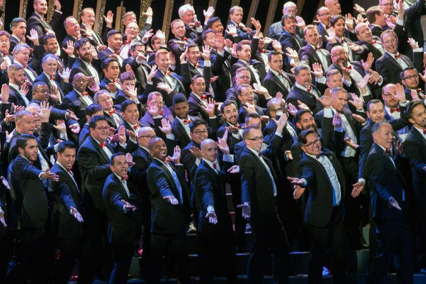 The Gay Men's Chorus of Los Angeles performed at the Alex Theatre in December.