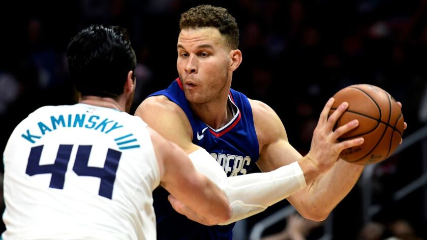 Clippers forward Blake Griffin returned to the lineup last week after missing 14 games because of a shoulder injury.