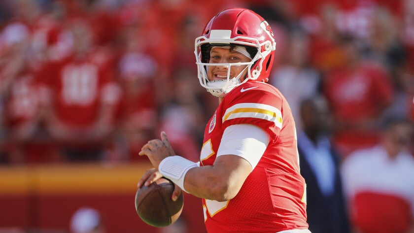 Kansas City Chiefs quarterback Patrick Mahomes (15) is up against high expectations headed into his second season as a starter. He's currently being selected in the second round of most fantasy drafts despite the potential for regression.