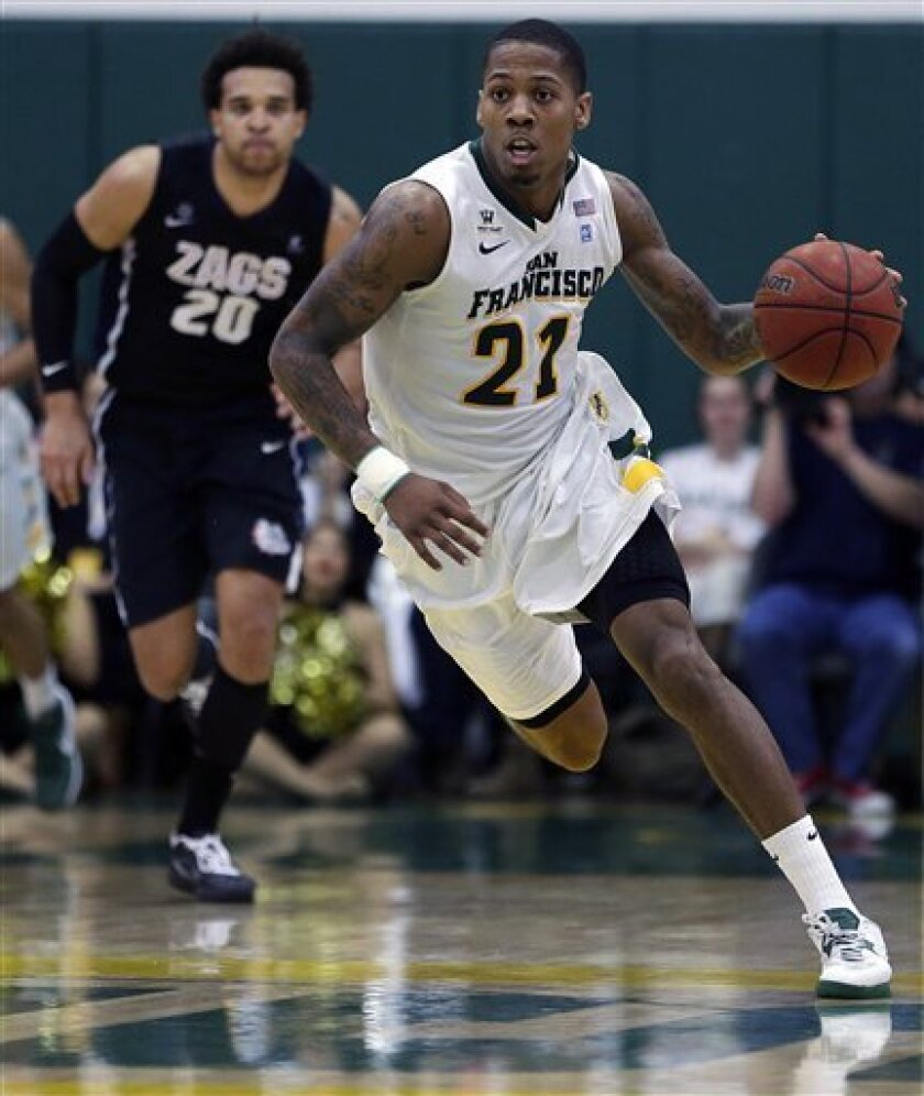 San Francisco's DeEnd Parker (21) drives the ball past Gonzaga's Elias Harris during the first half of an NCAA college basketball game, Saturday, Feb. 16, 2013, in San Francisco. (AP Photo/Ben Margot)