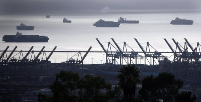 Container ships and cranes at the Port of Los Angeles in San Pedro.