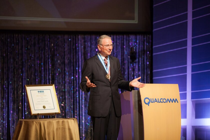 Jacobs speaks to an audience after receiving the Medal of Honor from the IEEE