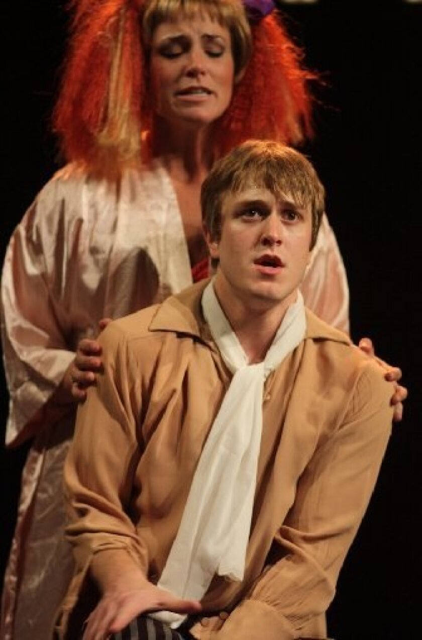 """Jacob Caltrider and Amy Northcutt in Diversionary Theatre's production of """"Twist,"""" a new musical based on """"Oliver Twist."""""""