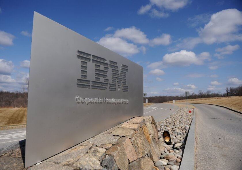A sign outside IBM's corporate headquarters in Armonk, N.Y.