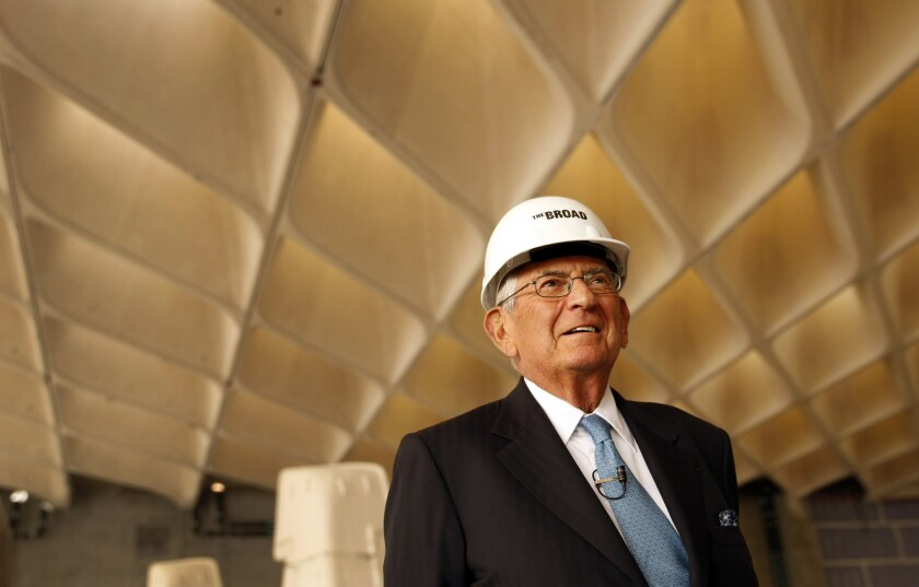 Eli Broad at a September 2013 tour inside his Broad Collection museum. In May the museum sued a subcontractor, alleging it had delayed the project by at least 15 months and added at least $19.8 million to costs. The opponents have agreed to a legal truce until the building's completion next year.