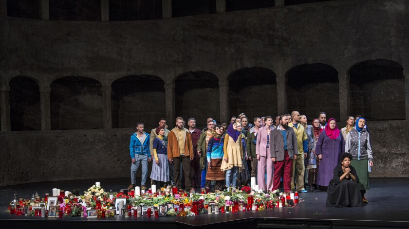 "Golda Schultz and the MusicAeterna Choir in Mozart's ""La Clemenza di Tito,"" part of the Salzburg Fes"