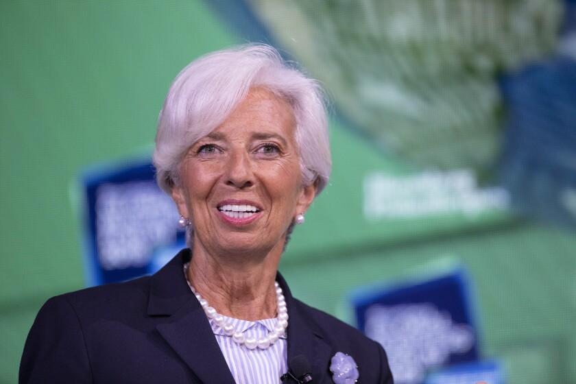 Christine Lagarde, President-elect of the European Central Bank, speaks at the Bloomberg Global Business Forum, Wednesday, Sept. 25, 2019 in New York. (AP Photo/Mark Lennihan)