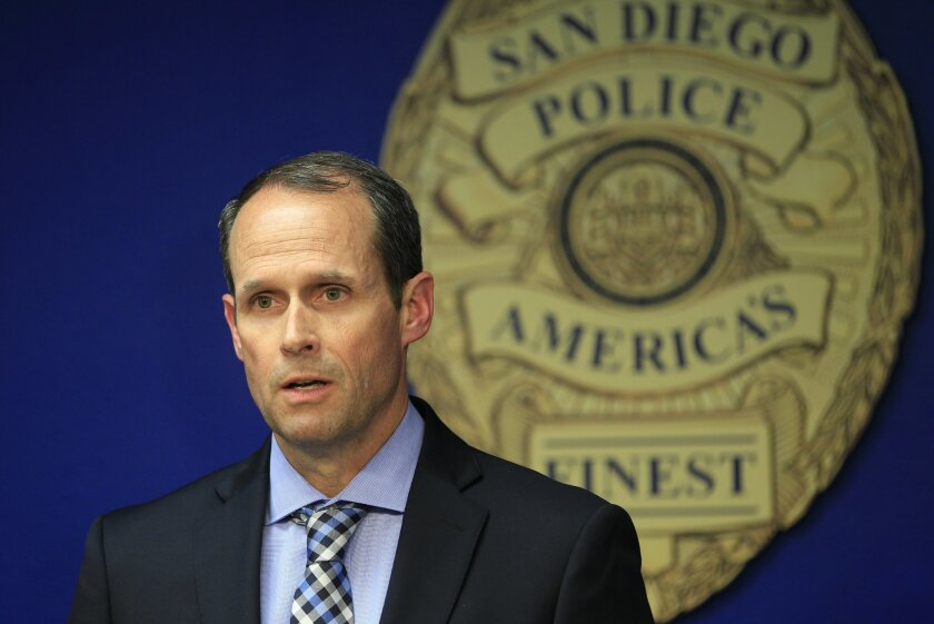 San Diego police homicide Capt. David Nisleit announces that police have a suspect in custody and have probable cause to arrest him for the murder of 2 homeless men during a news conference on Thursday at police headquarters in San Diego. The suspect would later be cleared and released.
