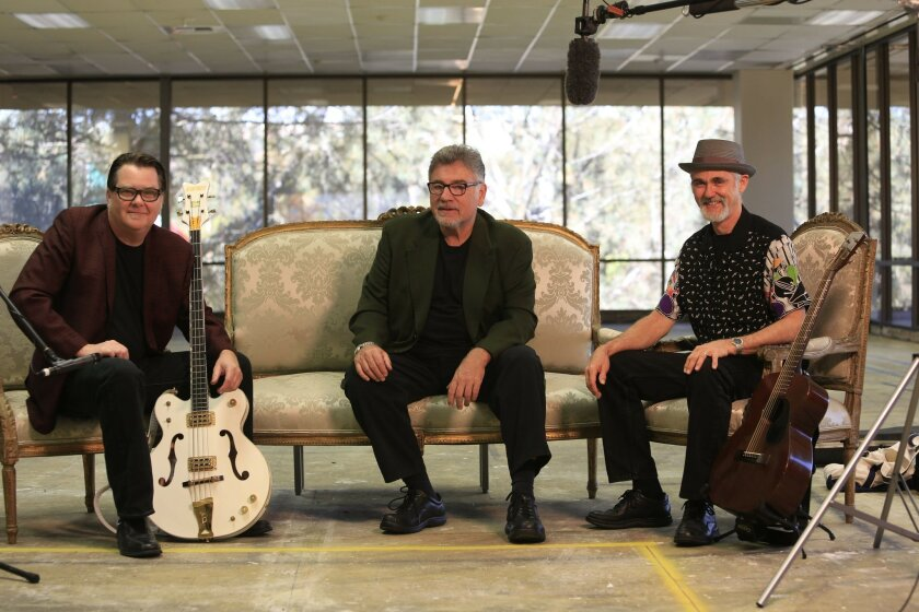 October 30th, 2014 San Diego, CA- Tim Butler, Jocko Marcellino and Ken Gill performing on the 4th floor of the Union-Tribune. Photo by David Brooks/ U-T San Diego MANDATORY PHOTO CREDIT DAVID BROOKS / U-T SAN DIEGO; ZUMA Press.
