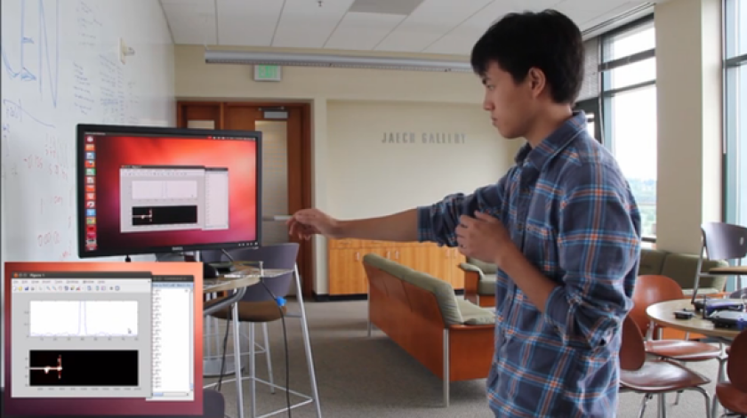 In this screenshot, University of Washington visiting research assistant Qifan Pu demonstrates WiSee, a technology that recognizes gestures such as a punch because of the slight disturbance it causes to the frequency of Wi-Fi signals. The gesture could be used to control another device connected to the Wi-Fi network.