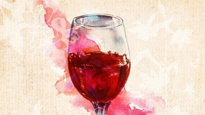 A painted glass of red wine