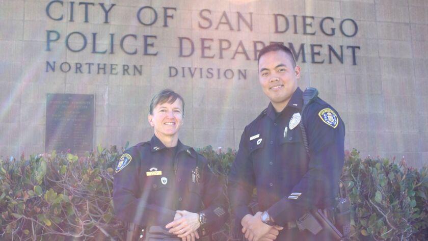 San Diego Police Department Captain Tina Williams and Lt. Erwin Manansala