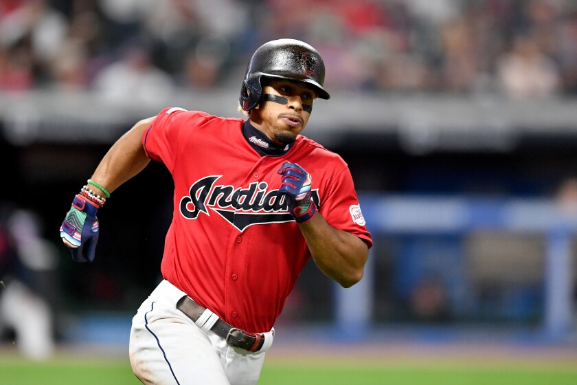 Indians shortstop Francisco Lindor runs out a double during the a game against the Tigers on Sept. 19.
