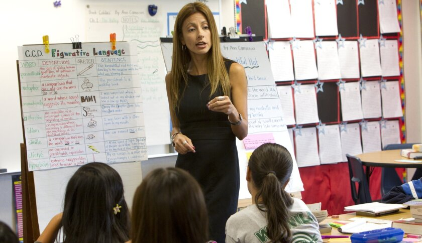 Veronica Valdivia with Loma Verde Elementary School in Chula Vista works with her 6th students during a reading and writing classroom assignment.