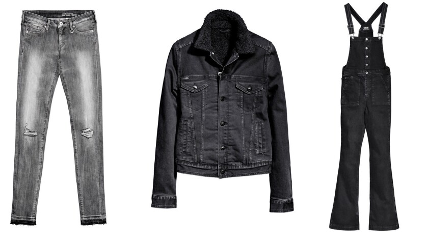 At H&M, three of 16 new denim styles made using recycled cotton from textiles collected in the retailer's Garment Collecting initiative.