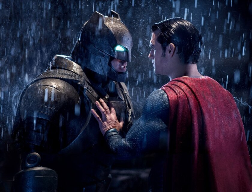"Ben Affleck, left, and Henry Cavill in a scene from ""Batman v Superman: Dawn of Justice."""
