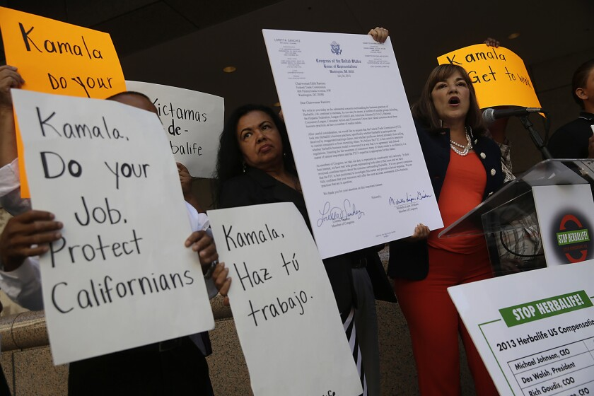 Rep. Loretta Sanchez hosted a news conference on Sept. 15 calling on her rival in the U.S. Senate race, state Atty. Gen. Kamala Harris, to follow up on numerous claims against Herbalife.