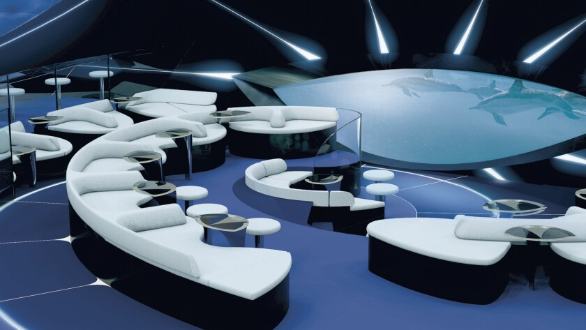 Artist's rendering of seating at the Blue Eye Lounge, which will be one of the draws on 92-passenger