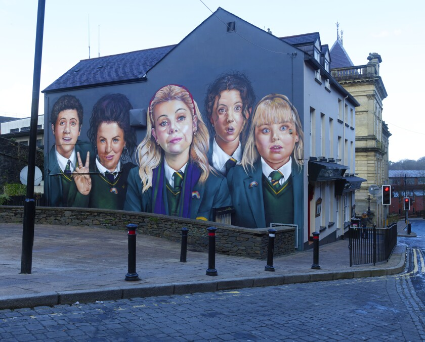 "A mural celebrating ""Derry Girls"" in Derry, Northern Ireland"