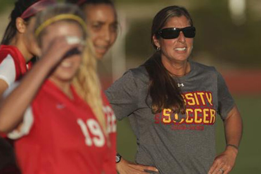 Cathedral Catholic high school girls soccer coach Dawn Lee coaches her team during a scrimmage with Westview High School at Westview High School.