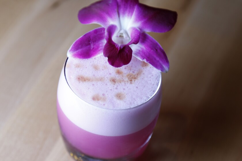"""Prickly Pear Pisco Sour"""