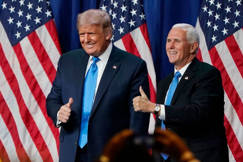 US President Donald Trump and Vice President Mike Pence at the 2020 Republican Convention.