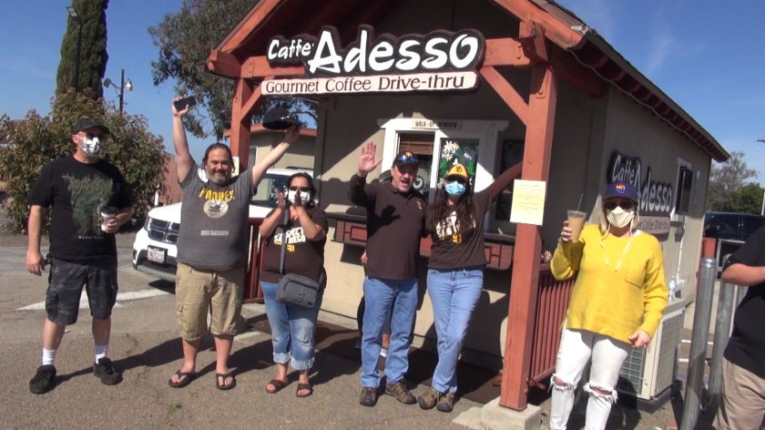 Fans congregate at Caffe' Adesso in Alpine, a coffee shop owned by the Musgrove family.