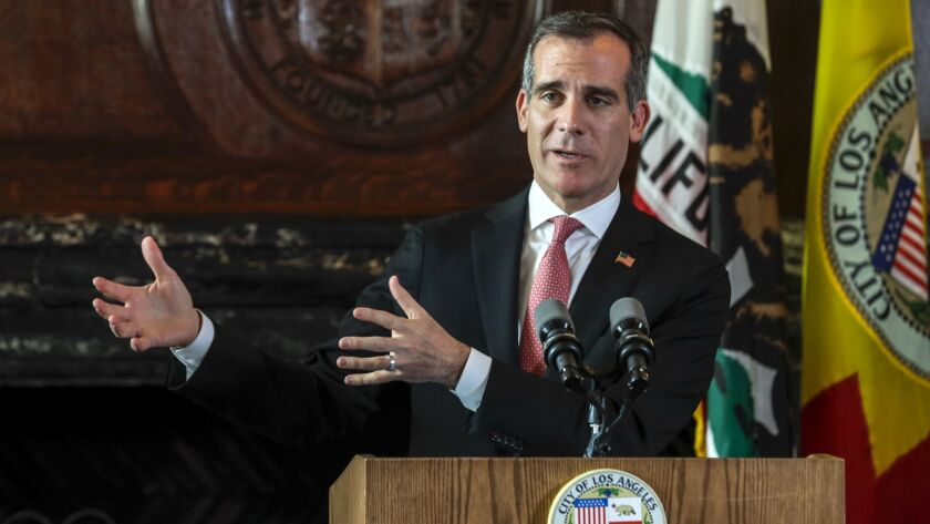 Mayor Eric Garcetti, shown in April, is facing a walkout by Los Angeles schoolteachers as he weighs a potential presidential run.