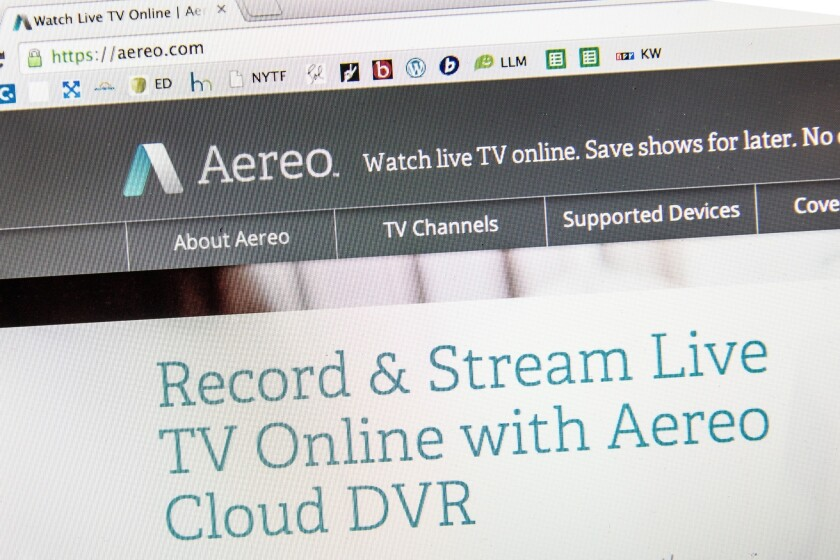 Aereo.com, a Web service that streams television shows online, is violating copyright laws, broadcasters contend.