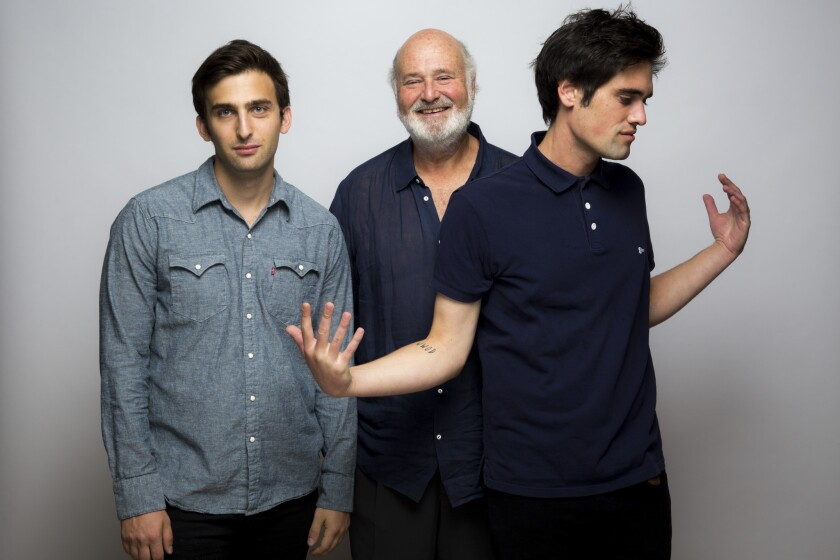 "From left: Writer Matt Elisofon, director Rob Reiner and writer Nick Reiner of the film ""Being Charlie"" photographed in the L.A. Times photo studio at the Toronto International Film Festival on Monday, Sept. 14."